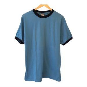 Plain blue and navy blue men's ringer tee t-shirt